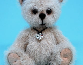 "Solo - 4"" Artist miniature teddy bear, Handmade, Collectible, OOAK"