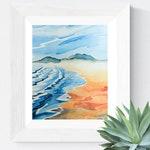 West Coast Surf Beach Original Watercolour Painting- Coastal Theme Wall Art- Pacific North West- Wickaninnish, Tofino, Vancouver Island