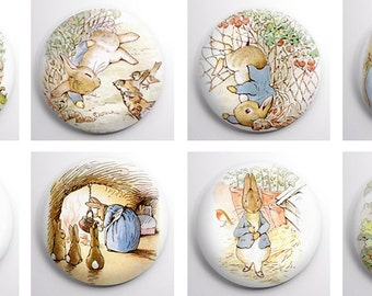 Peter Rabbit set of 8 x 1 inch pin badges or magnets.