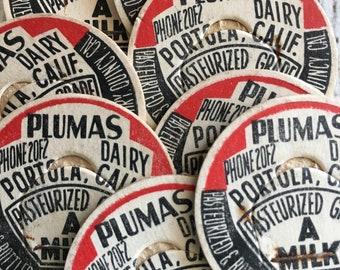 Vintage Milk Caps~ Plumas Dairy~Dairy Cap~Milk Bottle~Junk Journal~Ephemera~ Set of 8