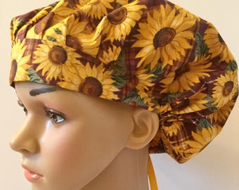 Sunflowers! Women's Surgical Scrub Hat, Bouffant Style