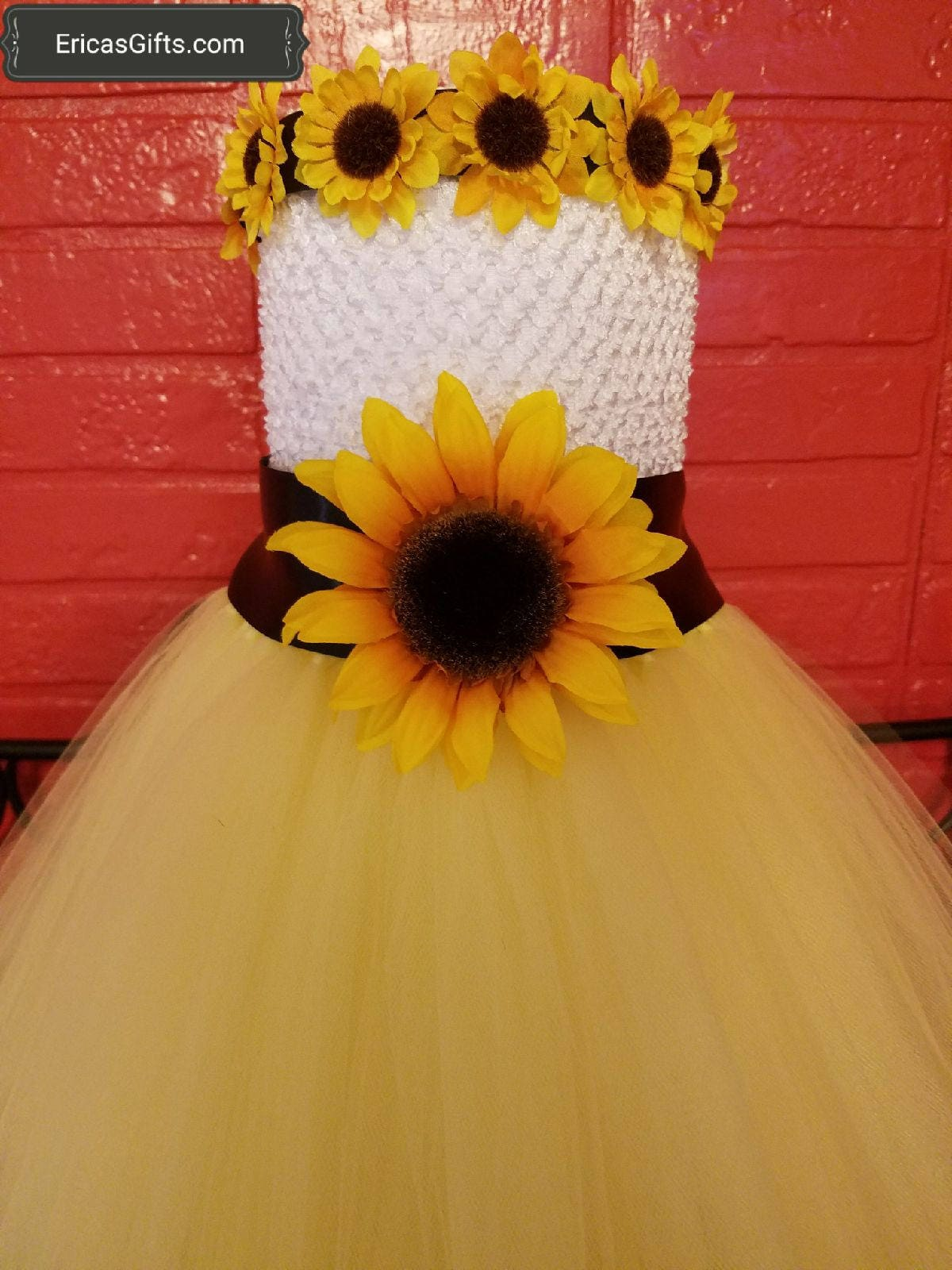 25a5af5f205be Tutu Outfit Tulle Flower Girl Sunflower Dress Wedding