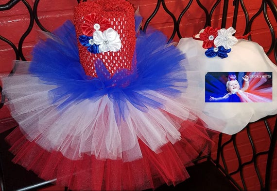 53ec32f0d56 Tulle Tutu Skirt July 4th Independence Day Patriotic Red White