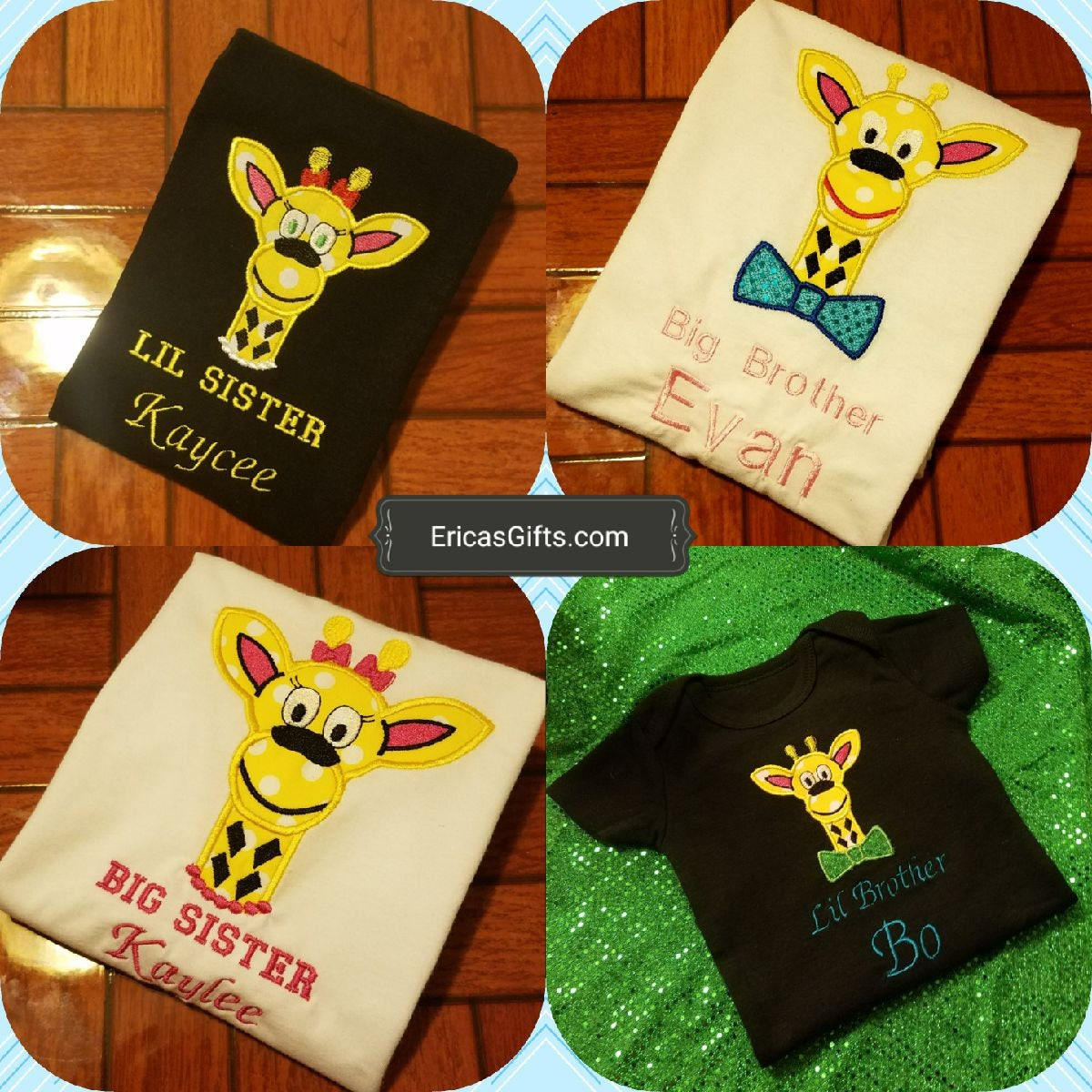 Boy Girl Baby Giraffe personalized embroidered shirts or onesies brother sister siblings custom embroidery Erica's Gifts