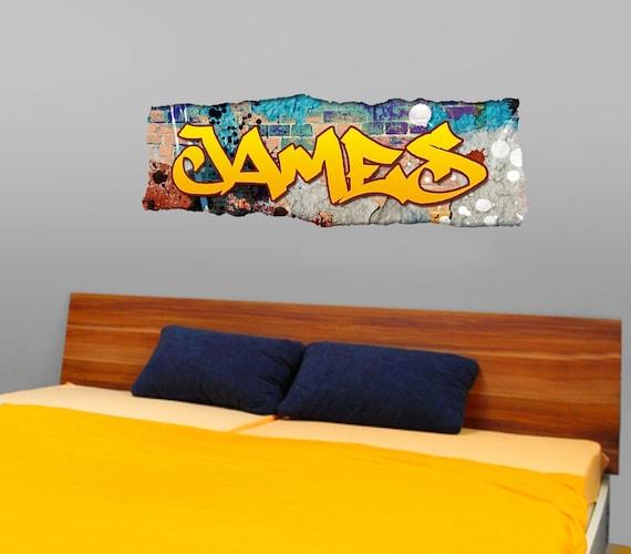 Personnalisé garçons autocollant mural filles nom art enfants chambre à coucher graffiti