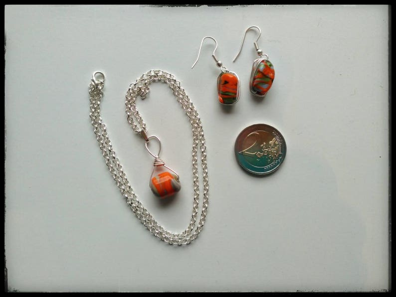 Necklace with earrings wrapped beads glass beads beaded wrap Jewelry colorful beads orange green grey unusual pendant jewelryset