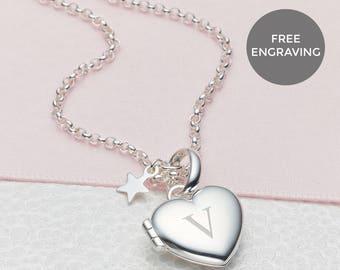 7e5fbfdb06370 Personalised Girl s Sterling Silver Small Heart Locket