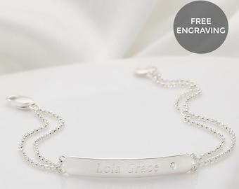 Molly B London Personalized 925 Sterling Silver Girls September Sapphire Birthstone Identity Bracelet