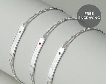 Personalised Children's Birthstone Identity Bracelet | Girls Birthday Gift | Flower Girl Jewellery | Children's Birthday Bracelet | Engraved
