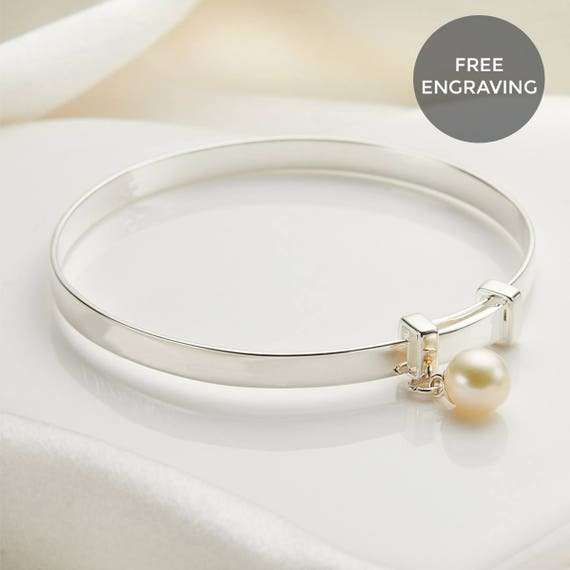 Real Silver Christening Baby Bangle Engraved Baby Free Gift Box Free Postage