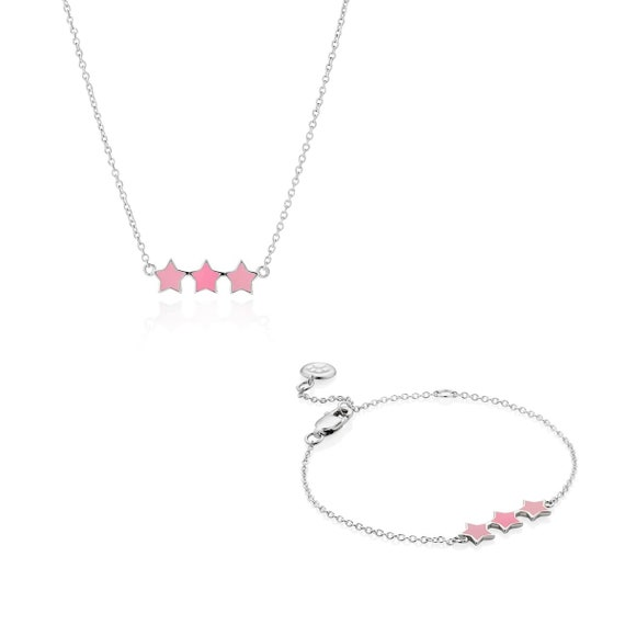 Molly B London 925 Sterling Silver /& Pink Enamel Girls Dream Three Star Necklace