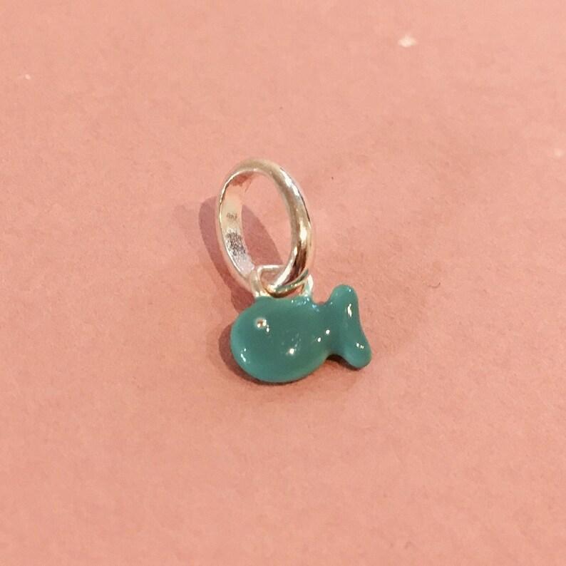SAMPLE SALE Tiny Teal Dishy Fishy Charm