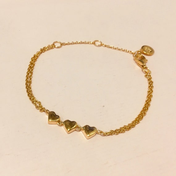 Sample Sale Gold Vermeil Heart Bracelet by Etsy