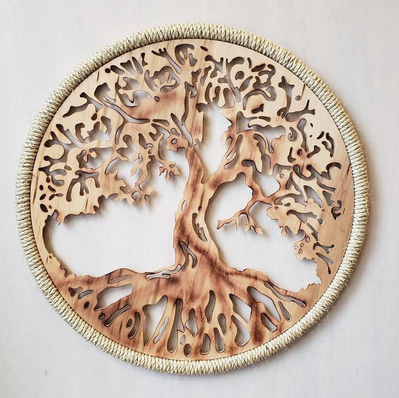 Tree Of Life Wall Art Single Round Panels Handmade 3d Home Etsy