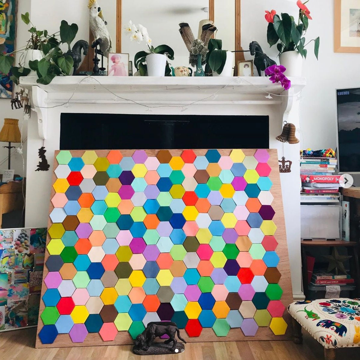 Bonne vibes Cosmic Rainbow Quilt (Handmade Art-Quilt Patchwork Hexagon)