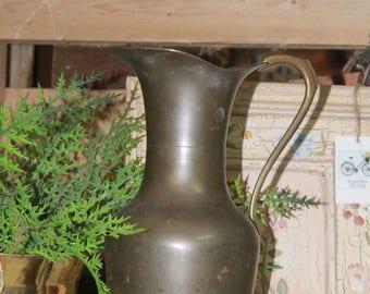 Vintage Brass Pitcher, Large Vintage Brass Pitcher, Vintage Brass Vase