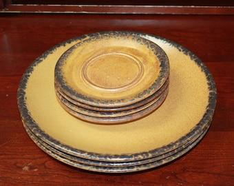 McCoy Canyon Mesa Plates And Saucers, Vintage McCoy Stoneware