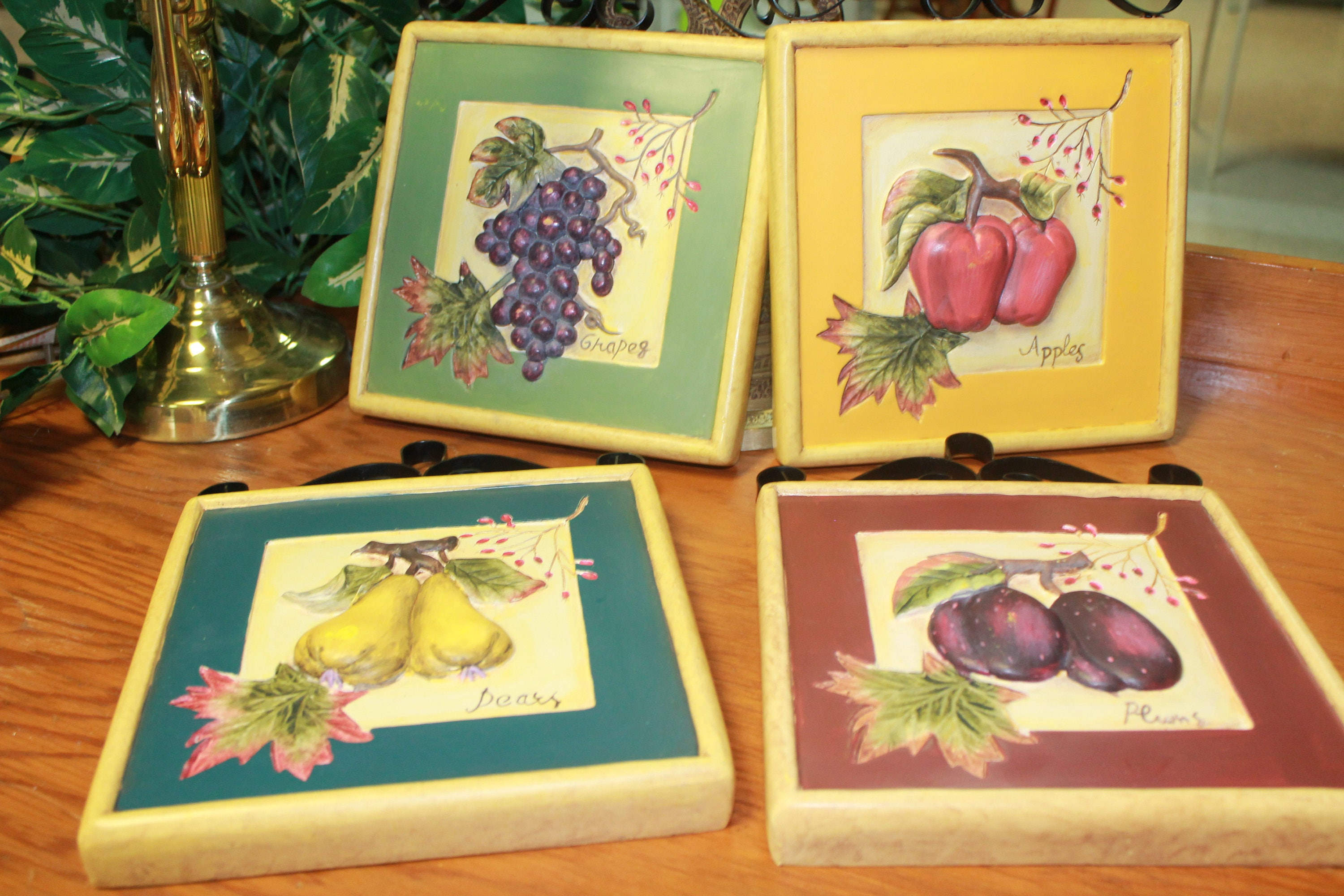 Vintage Fruit Kitchen Wall Plaques With Black Scroll Metal, Vintage ...