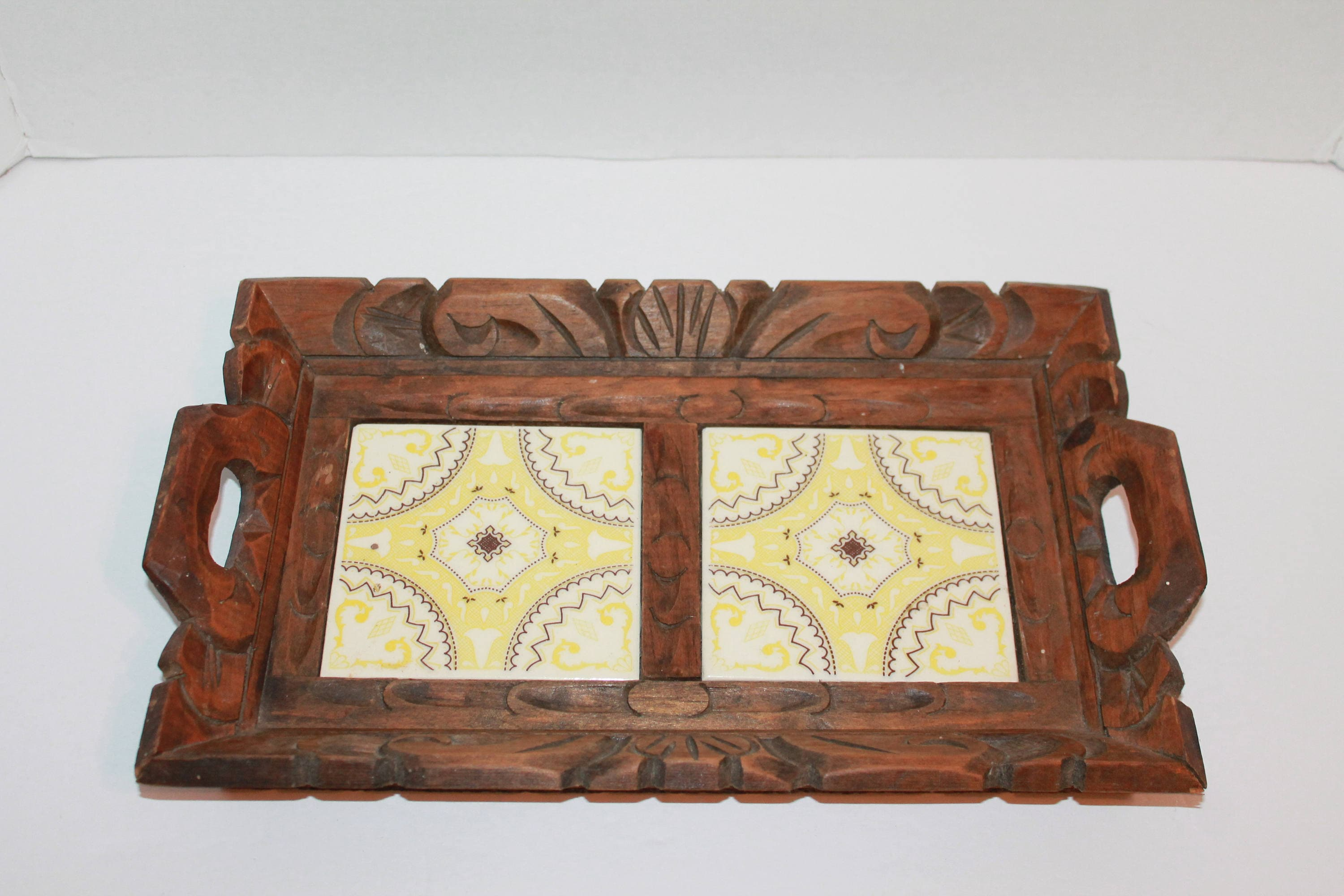 Vintage Hand Carved Wood And Tile Trivet Tray From Mexico, Vintage Serving  Tray