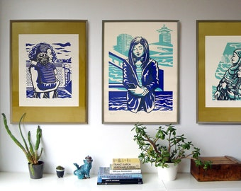 The Stillness Between screenprint collection. Faces on the Ferry.
