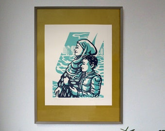 """Screenprint: """"Profiles."""" Faces on the Ferry collection, The Stillness Between."""