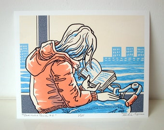 Faces on the Ferry: Dedicated Reader 2. 8x10 inches (USA measurements). Limited-edition digital print, artwork made in and about Amsterdam.