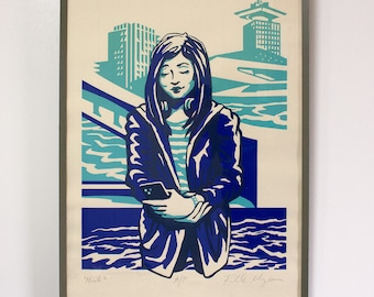"""Screenprint: """"Hush."""" Faces on the Ferry collection, The Stillness Between."""