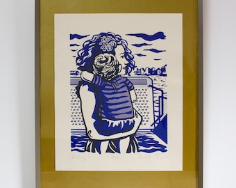 """Screenprint: """"Lullaby."""" Faces on the Ferry collection, The Stillness Between."""