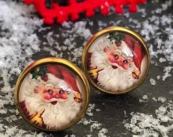 Vintage stud earrings Santa Claus, Christmas, golden, customizable