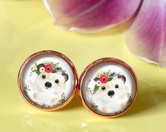 Earring hedgehog, rose gold