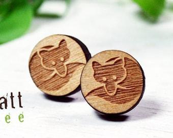 Fox earrings in cherry wood, genuine wooden earrings, surgical steel, Hypoallergenic
