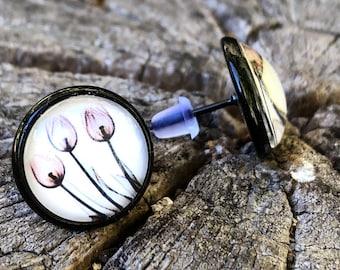 Tulips earrings, stud earrings black, customizable, leaf clover, tulip earrings