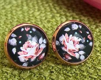 Earrings rose gold, vintage ear plug, black, rose earrings, customizable