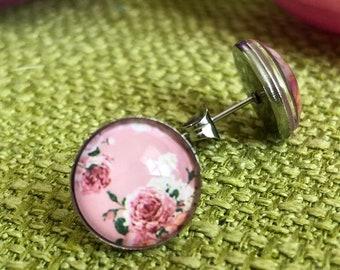 Edelstaster earrings, vintage rose, old pink, hypoallergenic, customizable