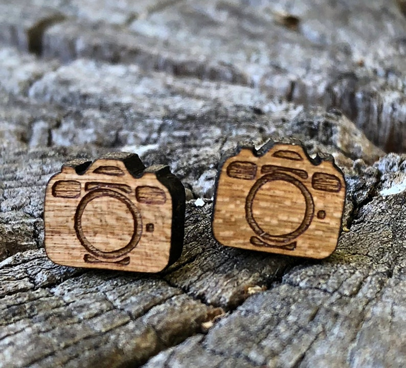 Real wood studs camera Holzohr plug wooden earrings wooden image 0