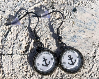 Simple anchor tube pendant, earrings with anchor, black silver, customizable