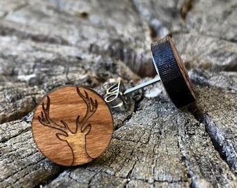 HIrsch earrings, cherry wood, real wood earrings, surgeon steel, hypoallergenic, wood earrings