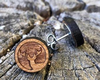 Wood earrings deer, moose earrings, winter earrings, leaf clover, surgical steel, hypoallergenic, antler earrings