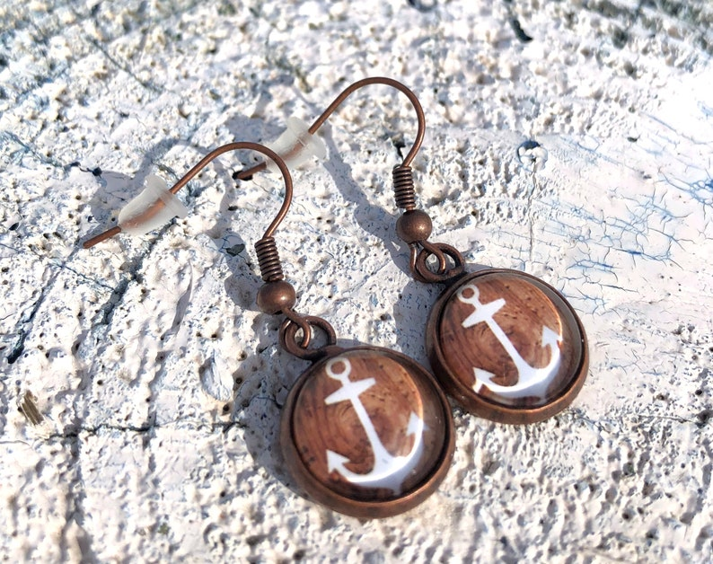 anchor earrings copper anchor earwires blattklee maritime image 0