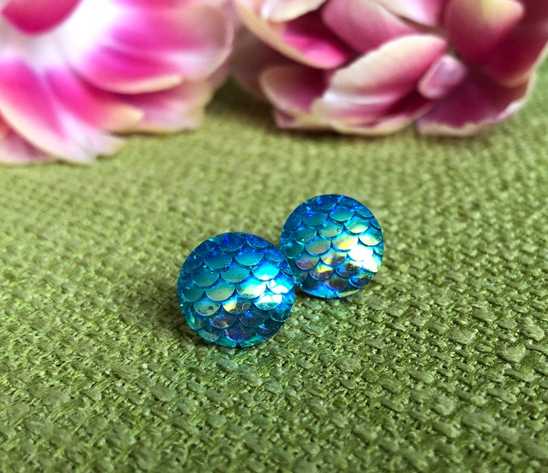 Earrings Mermaid in shifting turquoise Stud earrings with image 0