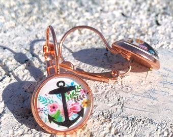 Ankor earrings, anchor earrings, rose gold, customizable