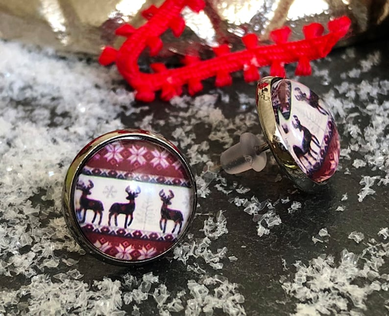 Reindeer stud earrings black silver Christmas earrings image 0