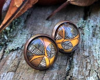 Autumn earrings, copper studs, autumn studs, leaf clover, autumn leaves, earrings