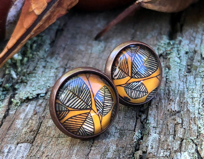 Autumn earrings Kupferohr plug stud earrings autumn image 0