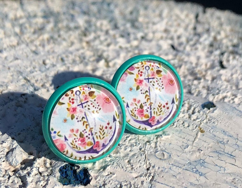 Turquoise stud earrings with anchor anchor earrings anchor image 0