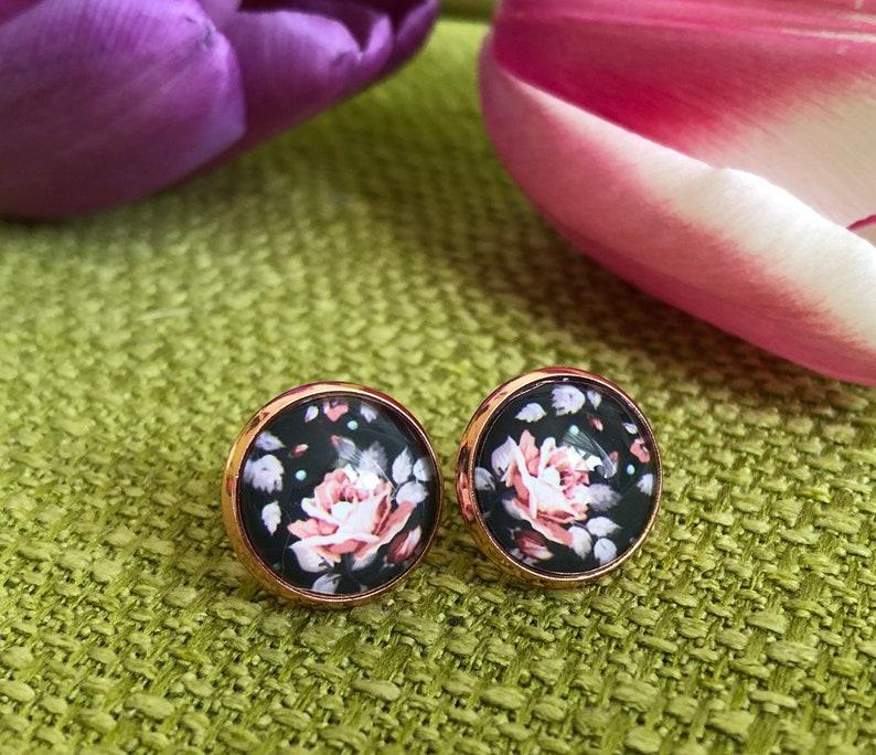 Earrings rose gold vintage ear plug black rose earrings image 0