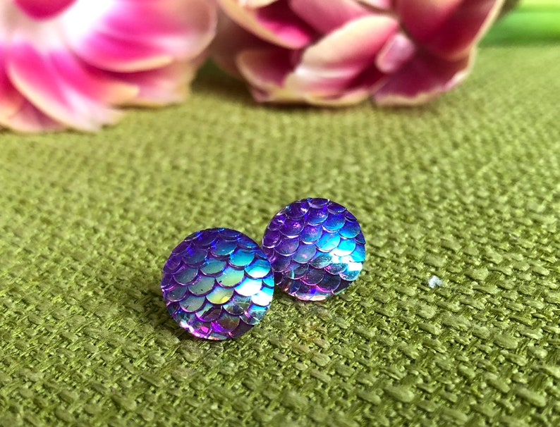 Earrings Mermaid in shifting purple Stud earrings with image 0