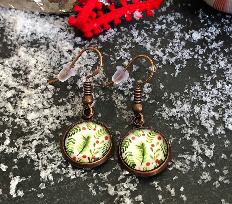 Fleintery earrings with twigs and berries Christmas earrings image 0