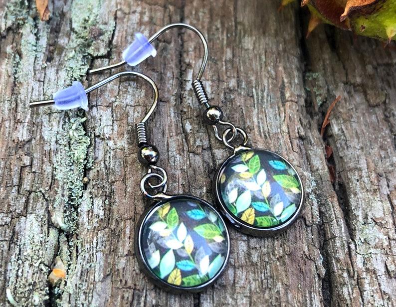 Autumn earrings in black silver earrings fall foliage image 0