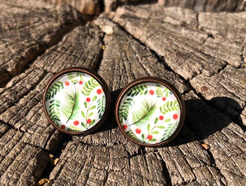 Winter earrings winter stud earrings copper paints twigs image 0